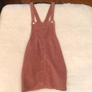 pink/mauve corduroy overall dress